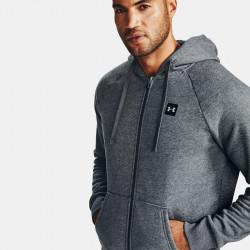 Veste à capuche en molleton pour homme Under Armour Rival Fleece FZ Hoodie - Gris chiné foncé - 1357111-012